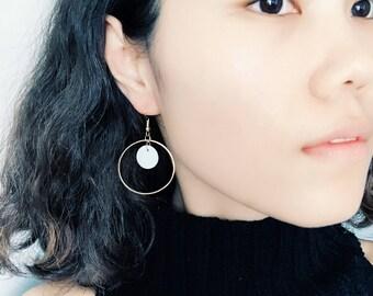 Golden Hoop Earrings - Shell Drop Earrings - Modern Obession Dangle Earrings- Minimalistic