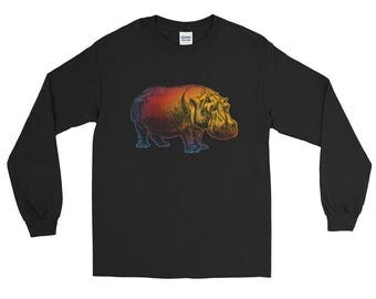 Colorful Hippo Long Sleeve T-Shirt