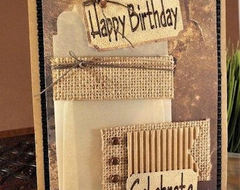 """Happy Birthday """"Celebrate"""" – handmade gift card holder for husband, dad, brother or friend with matching envelope"""
