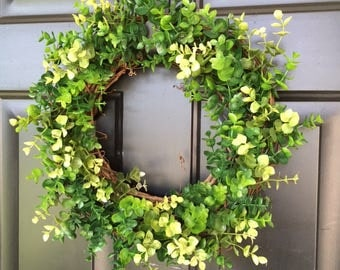 Farmhouse Style Greenery Wreath, Grapevine Wreath, Artificial Greenery, Eucalypts, Fixer Upper Style, Boxwood Look, Year Round Wreath