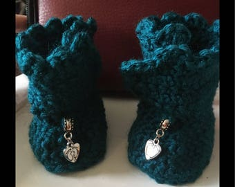 Teal New born baby booties
