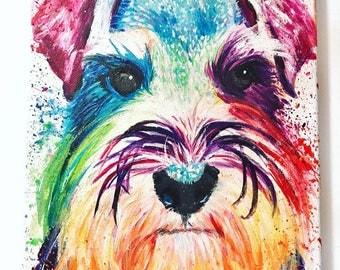 Custom Pet Portrait of Minature Shnauzer | Schnauzer Pet Portrait | Schnauzer painting | Schnauzer art | Schnauzer Art Print | Schnauzer | D