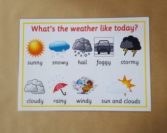 Weather Poster, Laminated A4 Poster, Early Learning, Teaching Resource, Educational Resource, Learning, home schooling, Geography