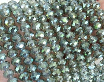 Crystal Beads, Metallic green glass beads, faceted Rondelle, green crystal beads, AB crystal beads, transparent glass beads, 8mm glass beads