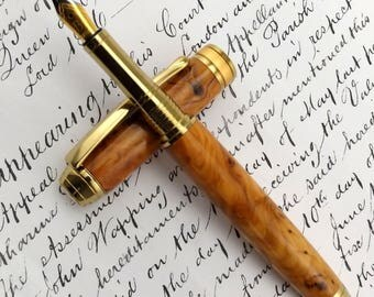 Special Reserve English Yew Burr - SR Maplehurst Fountain Pen in Gold (1072)