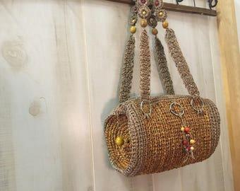1970's vintage sisal woven cylinder shape hippie bag.