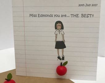 Sale ...Personalised Teacher Card. Card for a teacher. Thank you Card. Male or Female