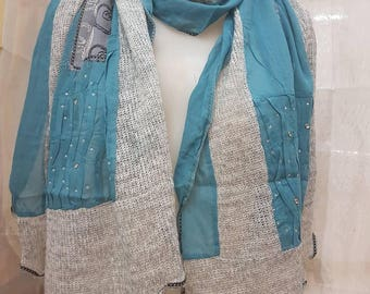 Patchwork scarf with rhinestones