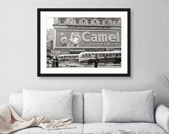 New York City 44th Street, Times Square, Cigarette Ad Hotel Claridge, 1940s, City Art, Wall Art