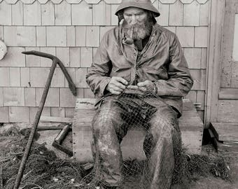 Seaside Cottage Decor, Coastal Wall Art, Cape Ann, MA Photo, New England, Fisherman, 1906, Black and White Photography