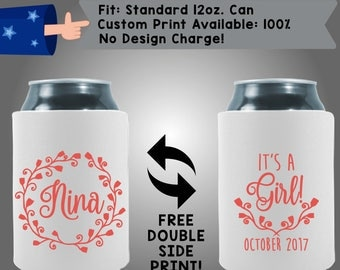 Nina It's A Girl Date Collapsible Fabric Baby Shower Can Cooler Double Side Print (BS86)