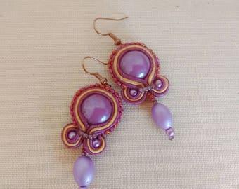 Soutache Earrings  Vintage earrings Soutage dangle earrings Charm Soutache earrings Spring soutache earrings Mother's gift  Gift for her