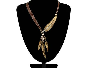 Necklace Alloy Feather Statement Necklaces Pendants Vintage  Rope Chain Necklace Women Accessories wholesale Jewelry Boho necklace Feather