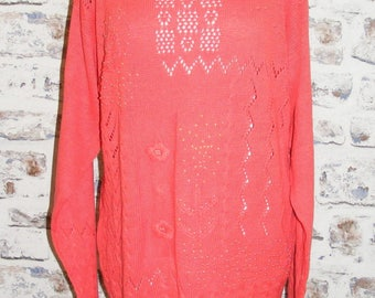 Plus size 18 vintage 80s long sleeve tunic jumper crochet/pearls coral (GY90)