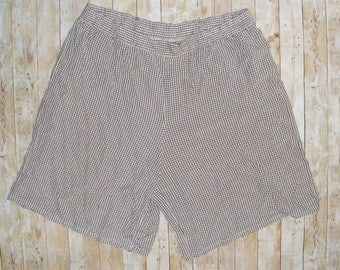 Size 20-22 vintage 80s high waist baggy culotte shorts brown check (HS51)