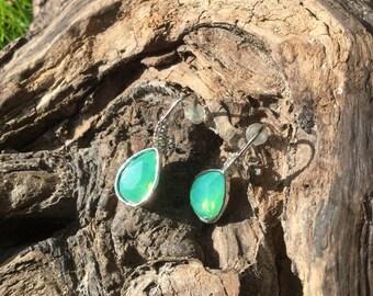 Drop shaped pierced earrings