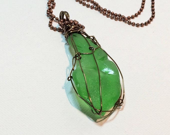 Large Green Authentic Lake Michigan Beach Glass - Wire Wrapped bronze wire - For Her - Beautiful Necklace