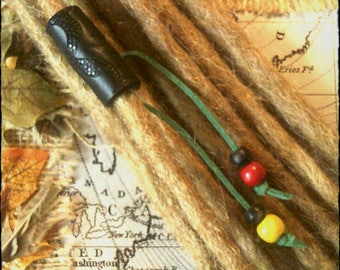 S/M - Rastafarian - Unique hand crafted, up-cycled genuine leather dread/hair cuff/bead with beaded tails.