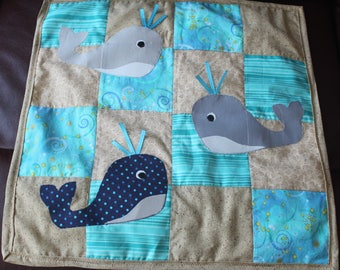 Whale Baby Quilt - Light-weight Car Seat Quilt