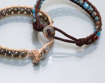 Bracelet gems Wrap cotton wax and stones