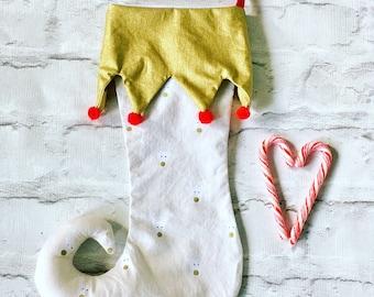 Christmas stocking, Christmas stockings, elf stocking, red stocking, gold stocking, reindeer stocking