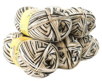 5 x 100 g yarn TERA MULTI, #814 beige, black and white