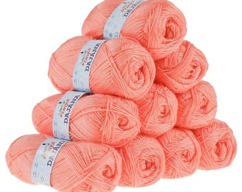 10 x 50 g knitting wool Dajana uni by VLNIKA, #468 coral