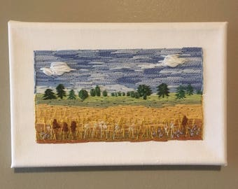 Embroidered Prairie landscape, wheat field, prairie sky, fluffly clouds, hand stitched, embroidered canvas modern embroidery one of a kind