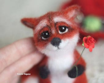 Needle felted fox, fox Juliette, felt fox, toy little fox, handmade toy, Collectible, needle felted animals, Red fox, soft sculpture fox