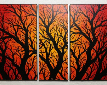 Painting: Triptych silhouettes branches.