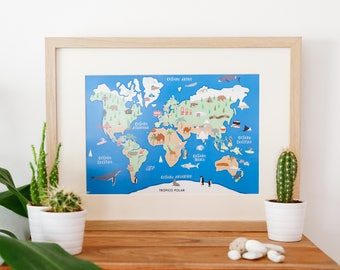 Illustrated map-illustrated world map