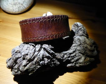 Recycled distressed brown leather bracelet/cuff