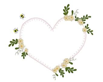 Bee Flower Heart - machine embroidery