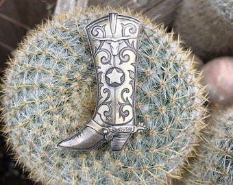 Vintage Sterling Silver Kit Carson Boot Pin
