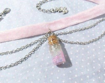 Double Chain + Small Bottle Choker (Fairy Kei, Lolita, Decora)