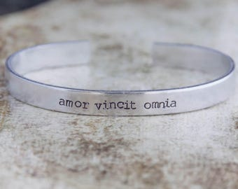 Amor Vincit Omnia / Love Conquers All / Latin Jewelry / Latin Bracelet / Inspirational Jewelry / Romantic Jewelry / Motivational Jewelry