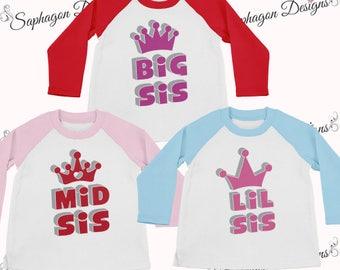 Lil Sis, Mid Sis & Big Sis Matching T Shirts, Larkwood Long Sleeve Baseball T-Shirt