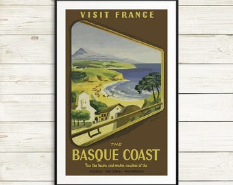 france travel posters, vintage french travel poster, basque coast travel posters, vintage france prints, antique art print reproductions