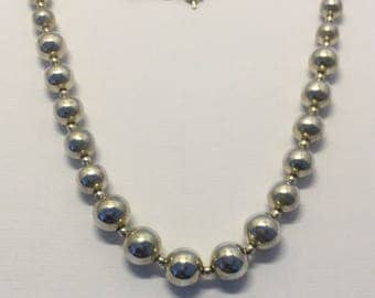 sterling silver graduated bead necklace #127