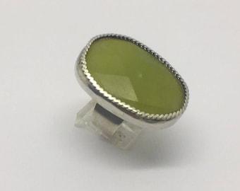 sterling silver serpentine jade ring #202
