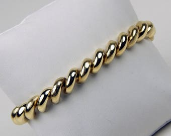 14k Gold San Marco macaroni link bracelet #10217