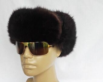 "Vintage Fur Trapper Warm Winter Hat Aviator Style Ear Flaps Large 58 cm 23"""