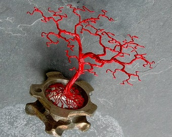 Handmade Wire Bonsai Tree Sculpture (11cm high). Red Metal Tree mounted on an Old Industrial Cog. Unique Sculpture. Great Gift