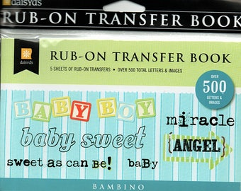Bambino Baby Boy Rub on Transfer Book Scrapbooks Daisy D's  Embellishments Cardmaking Crafts