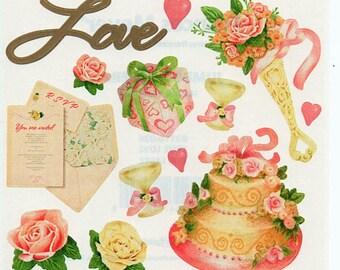 True Love Valentine Romance Frances Meyer Scrapbook Stickers Embellishments Cardmaking Crafts 4x4 Inch Sheet