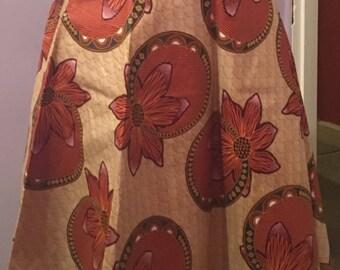 Snail Flower Ankara Panel Flare Skirt Showing The African Hip
