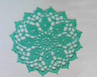 """Round aqua crochet doily (19 cm or 7.48""""), round tablecloth, green home decoration, gift, table centrepiece, coffee tablecloth"""