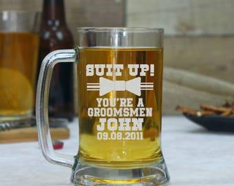 Set of 6 Groomsmen Beer Glasses, Personalized Beer Mugs, Gift for Groomsmen, Beer Glasses, Custom Beer Glass, Best Man Mug