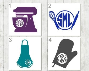 Baking Monogram Decals - Kitchen Monogram Decals - Apron Decal - Whisk Decal - Baking Gift for Her - Stand Mixer Decals - Utensil Decals