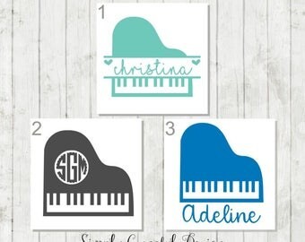 Piano Monogram Decal, Personalized Piano Decal, Gift for Pianist, Piano Teacher Gift, Decal for Musician, Music Party Decor, Musical Gifts